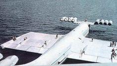 "The Russian Ekranoplan: ""Caspian Sea Monster"" . a so-called ""ground effect vehicle"": Lun Class Ekranoplan, War Jet, Ground Effects, Passenger Aircraft, Experimental Aircraft, Flying Boat, Military Photos, Civil Aviation, Sea Monsters"