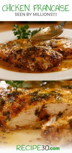 "CHICKEN FRANCAISE (popular) Also known as ""Chicken Francese"" egg dipped chicken breast in tangy buttery sauce"