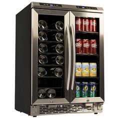Avanti 19 Bottle French Door Wine and Beverage Cooler - Black and Stainless Steel  Model:WBV19DZ $1000 19 wine bottles (750 ml), 66 soda cans