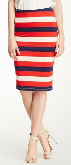 nautical stripe pencil skirt
