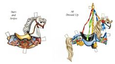 🎠💙🎠💜🎠💙🎠 Heidi the Carousel Horse Paper Doll 3d Paper Crafts, Paper Toys, Paper Art, Horse Artwork, Pretty Animals, Paper Animals, Doll Painting, Carousel Horses, Vintage Paper Dolls