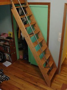 Ship ladder with railing that levels-off at the top for hatchways or low ceilings.
