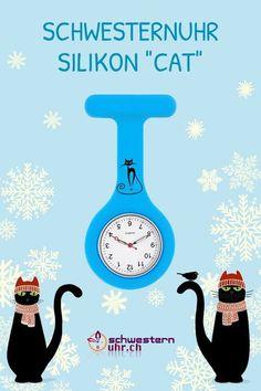 """Silikonuhr für medizinisches Fachpersonal. Schwesternuhr vom Schweizer Profi. Die Uhr wird mit einer Sicherheitsnadel an der Kleidung befestigt. Sonderedition """"Cat"""" hellblau für Katzenfreunde. ✅ Pflegeleicht und hygienisch. Wasserdicht bis 30m ✅ Rostfreier Stahl ✅ Auf Wunsch mit Gravur #schwesternuhrch #schwesternuhr #swissmedclip #silikonuhr Cats, Safety Pins, All Stainless Steel, Swiss Guard, Wish, Light Blue, Gatos, Kitty Cats, Cat"""
