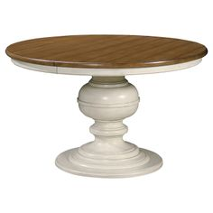 513.95-PAULA DEEN / RADLEY ROUND DINING TABLE / MAPLE VENEERS & SELECT HARDWOOD SOLIDS / COTTON & MAPLE / (1)-20'' LEAF INCLUDED / TURNED PEDESTAL BASE / ***NO-LEAF 50'' ROUND X 30''H*** ***WITH-LEAF 70''W X 50''D X 30''H***
