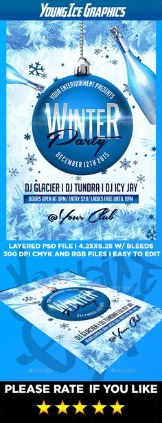 Winter Party Flyer  Poster  Winter Parties Party Flyer And Font