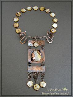 """Elana Pavlova Jewelry, from Khmeinitsky, Ukrane, found on Tues. April 15, 2014. Necklace """"Nostalgia"""""""