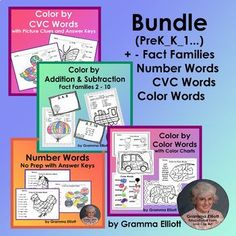 Color by Color Words, Number Words, CVC Words, Add and Sub Fact Families BUNDLE Number Words, Cvc Words, First Grade Lessons, Math Lessons, Seeing Quotes, Special Education Classroom, Math Education, Fact Families, 5th Grade Math
