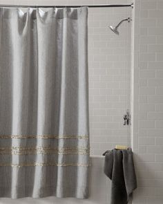 LOVE!  Thinking about turning this into a roman shade....Striped Shower Curtain at Horchow.