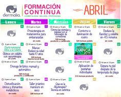 Buenos días!!  Dermalia te invita a los talleres del mes de Abril.  Llama al 6000747 o 2004325 para más información.  Ven y actualiza tus conocimientos!!   #belleza #estética #cosmetologa #facial #corporal #spa #relax #mujer #salud #talleres #cursos #formacioncontinua #aparatologia #consejo #tips #maquillaje #dermalia #centroestetico #guayaquil #ecuador #allyouneedisdermalia #ilovedermalia #dermaliatips #tubellezanuestraespecialidad