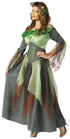 This green, brown and gray earth-tone gown features organza and leaf accents compliments this goddess of fertility, fecundity and agricultural bounty.      Available in Womens Sizes: Small/Medium (2-8) and Medium/Large (10-14).     Includes: Dress.     Does not include shoes or headpiece.