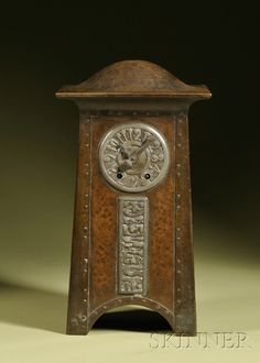 Hammered copper and pewter mantel clock, early century, with domed top above a pewter face with two-train movement signed D. Craftsman Clocks, Craftsman Decor, Craftsman Furniture, Mantel Clocks, Old Clocks, Antique Clocks, Vintage Clocks, Arts And Crafts Furniture, Furniture Decor