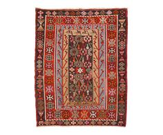 "VINTAGE ANATOLIAN KILIM IN RED BLUE 3'5"" x 4'10"" 