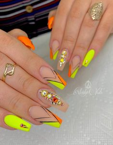56 Trendy Summer Acrylic Coffin Nails Design And Color Ideas - Page 45 of 56 - Latest Fashion Trends For Woman Aycrlic Nails, Dope Nails, Neon Nails, Yellow Nails, Bling Nails, Swag Nails, Coffin Nails, Best Acrylic Nails, Acrylic Nail Designs