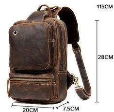 Vintage Leather Sling Backpack for Men Vintage Leather Backpack, Cow Leather, Leather Bag, Sling Backpack, Sling Bags, Crossbody Shoulder Bag, Vintage Men, Messenger Bag, Coin Purse