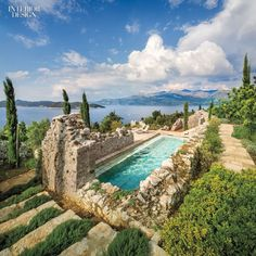 On a Croatian island in the Adriatic Sea, architect Antonio Zaninovic, designer Lucien Rees Roberts, and landscape architect David Kelly repurposed ruins into a contemporary retreat complete with pool. Photography by Scott Frances, courtesy of Otto. Beautiful Pools, Beautiful Places, Croatian Islands, Dream Pools, Interior Design Magazine, Stone Houses, Garden Pool, Cool Pools, Pool Designs