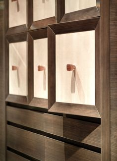 Mitred framed doors with infill panels in shagreen and matching timber in walk-in wardrobe by INTERIOR-iD. #bespoke #joinery