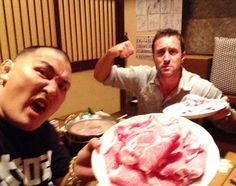 ♥♥♥  Guess what we had for dinner? Hehe!  -  Enson Inoue and Alex O'Loughlin in Japan - Oct 2014