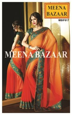 Exude the Feminine Charm with this Simple yet enigmatic elegance. This fascinating orange and red georgette saree looks super with the contrasting sea green pallu and mukesh crystals all over.