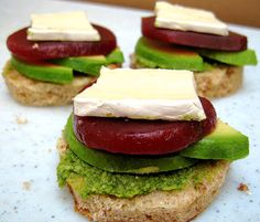 Avocado, Beet, Pesto and Brie Tea Sandwiches