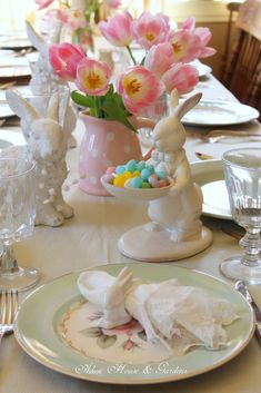 Easter table - I would love to find one of these rabbits holding a tray.