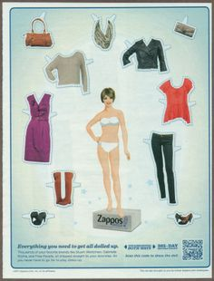 Zappos Clothing 2011 Magazine Print Ad Paper Dolls | Print ads that pop