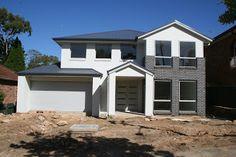 ironstone roof, surfmist render/ paint weatherboard, urban blue brick Roof Colors, House Colors, Colours, Render Paint, Brick Rendering, White Exterior Houses, Facade House, Exterior Colors, Cladding