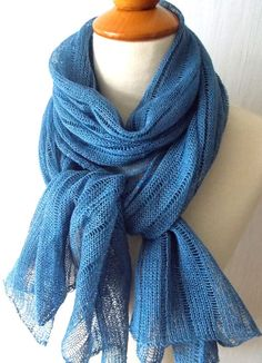 Blue Linen Scarf Shawl Knitted Natural Summer  Spring by LaimaShop, $42.00