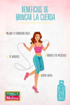 Brincar la #cuerda tiene más #beneficios de los que crees. Empieza alternando 1 minuto brincando y 1 descansando.