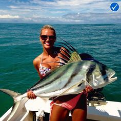 @bombchelle811 with a monster rooster!  #APPROVED #AnglerApproved #AreYouApproved #CatchFishGetApproved #Roosterfish #Fishing #SaltwaterFishing