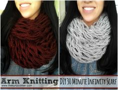 Time to get started making your holiday gifts!! This Arm Knitting - DIY 30 Minute Infinity Scarf is fast, easy and oh so comfy! It wold make a perfect gift this holiday season!