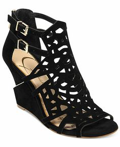 44a6cac10e32 Jessica Simpson Rabah Laser Cut Wedge Sandals Black Wedge Sandals