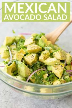 This simple avocado salad is the perfect summer salad. This simple avocado salad is the perfect summer salad. Light, simple and ready in just 10 minutes. Avocado Brownies, Vegan Appetizers, Appetizer Recipes, Vegan Mexican Recipes, Healthy Recipes, Ethnic Recipes, Avocado Toast, Fresh Avocado, Mexican Avocado