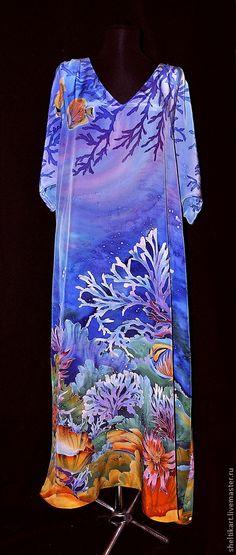 """Пляжные платья ручной работы. Ярмарка Мастеров - ручная работа Платье Батик """" Коралловые рыбки"""". Handmade."""