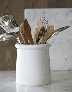 category utensil holder porcelain crate and barrel new kitchen mason jar flatware caddy cutlery storage silverware Cooking Utensil Holder, Kitchen Utensil Storage, Cutlery Storage, Cooking Utensils, Kitchen Utensils, Kitchen Organization, Kitchen Gadgets, Ceramic Utensil Holder, Kitchen Organizers