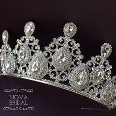 Crystal wedding tiara crystal wedding tiara bridal tiara | Etsy Bridal Crown, Bridal Tiara, Bridal Headpieces, Shoulder Jewelry, Silver Tiara, Swarovski Stones, Crystal Crown, Crystal Wedding, Wedding Hair Accessories