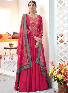 Get Beautiful Pink Color Satin Designer Anarkali Suit latest designer party wear salwar suits, wedding wear anarkali dress for women at VJV Fashions. Designer Anarkali, Designer Gowns, Abaya Fashion, Fashion Pants, Readymade Salwar Kameez, Anarkali Dress, Anarkali Suits, Indian Ethnic Wear, Indian Style