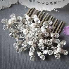 OLIVIA, Bridal Hair Comb, Vintage Inspired Swarovski Pearl and Rhinestone Wedding Hair Comb, Flower Comb, Hair Accessory, Vintage Weddings