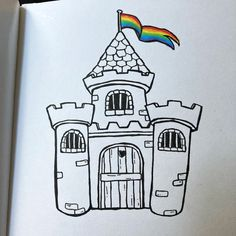 Castle drawing with rainbowflag Castle Drawing, Alcohol Markers, Daily Drawing, Moleskine, Doodles, Drawings, Sketches, Drawing, Portrait