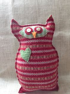 Ollie the Owl friend--red & green up cycled wool-way cute and she is in Union, KY