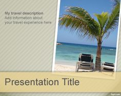 Free all inclusive travel PowerPoint template background with palms and beach with sand