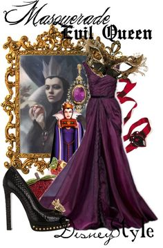 The inspiration: the Evil Queen from Disney's Snow White & the Seven Dwarves (by missm26 on Polyvore).