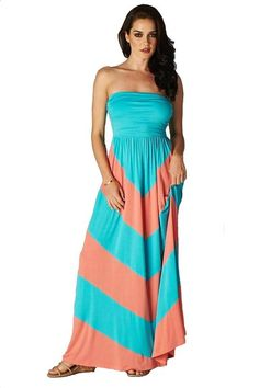 Charm Your Prince Women s Sleeveless Summer Chevron Empire Maxi Dress  Turquoise and Coral Medium. Cute Cheap Maxi Dresses e7cff17b46a8