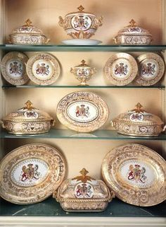 Sevres porcelain, apparently 19th century. Later decorated? The crest looks like the English Royal Arms.