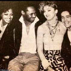 Hanging with the gang: On Monday Madonna shared this throwback photo taken in the late or early with, from left, Diana Ross, Chic guitarist Nile Rodgers and her boyfriend, drummer John 'Jellybean' Benitez taken at New York's Paradise Garage club Larry Levan, Paradise Garage, Madonna 80s, Madonna Photos, Jeff Beck, Thing 1, Diana Ross, Music Film, Keith Haring