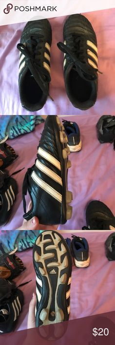 Soccer cleats NOT NEW WITH TAGS BUT IN GOOD CONDITION!!! Have been worn a few times. Do show sings of wear, they don't look brand new but they aren't falling apart & will still do the job they need to & last a while. I am accepting ALL offers made even lowball ones everything from my closet needs to go!!!! adidas Shoes