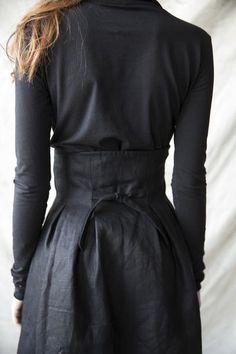 Louise Corset Skirt - Black Linen www.ovate.ca
