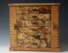Handmade wooden box chest with six drawers for jewelry made of cherry wood and spalted maple burl