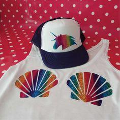 Unicorn Hat and Seashell Bra Tank Top Set. Rainbow Unicorn Trucker Hat. Mermaid Tank Top. Crop Top. Seashell Vest. by SoPinkUK on Etsy
