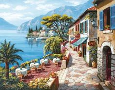 Teras Cafe 2, Sung Kım (1000 parça puzzle) - Anatolian - Puzzle - Yapboz - Hobi - Koleksiyon