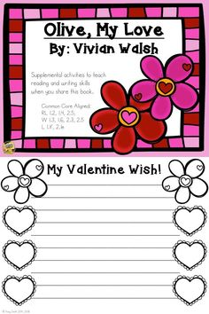 Olive My Love -Valentine's Day - Activities to Support Reading/Writing Skills Valentines Day Book, Valentines Day Activities, Literacy Activities, Literacy Centres, As You Like, My Love, Common Core Ela, Thing 1, First Grade Teachers